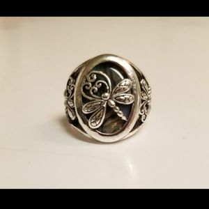 Dragonfly abalone silver ring 7 8 9 10